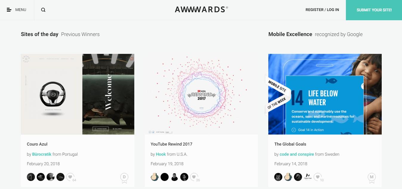 Поиск сайтов на awwwards